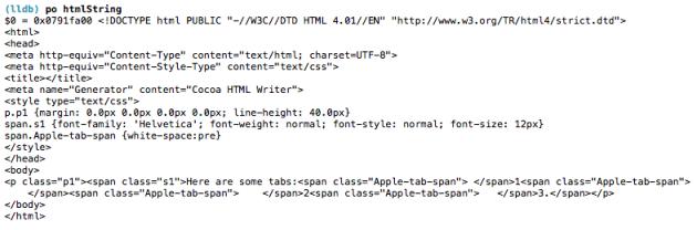 NSHTMLWriter representing tabs