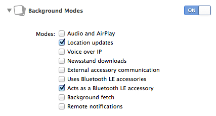 Enabling iBeacon background modes