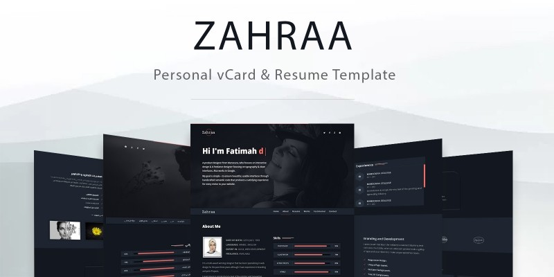 Zahra - Personal vCard And Resume Template Codester