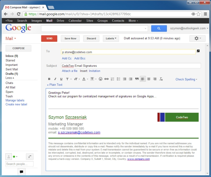 Centrally add email signatures and disclaimers to Google Apps for