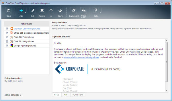 New version of CodeTwo Email Signatures out now - outlook signature template