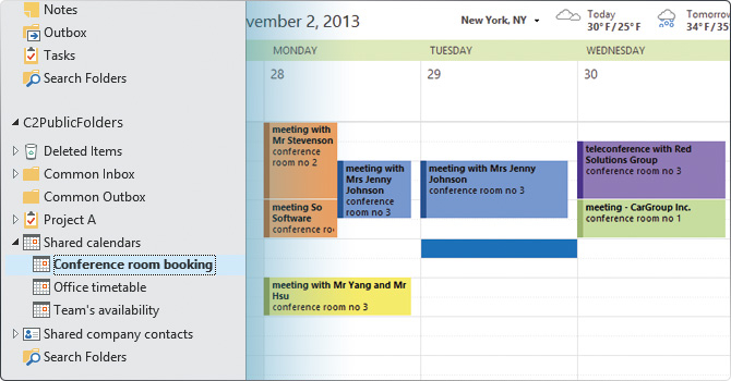 Share Outlook calendars, synchronize appointments with your team