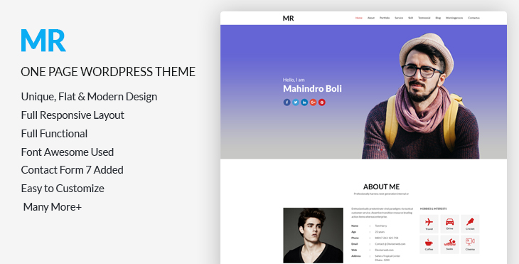 Mr - Free CV  Resume One Page WordPress Theme CodexCoder - resume wordpress theme