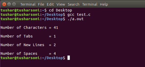 C Program To Count Number of Spaces, Newlines, Tabs and Characters