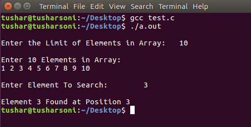 Search Element in Array using Binary Search in C Programming using Functions
