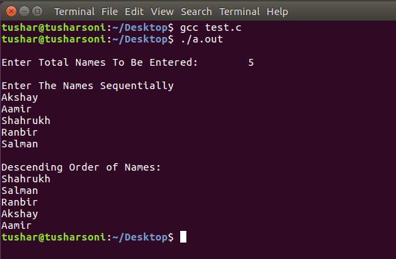 Sort Names in Descending Order in C Programming