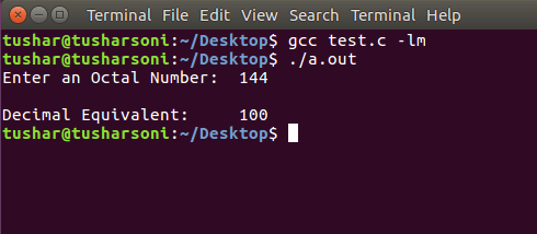 C Program To Convert Octal To Decimal using For and While Loop
