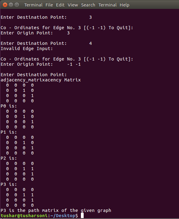 C Program To Implement Warshall's Algorithm To Find Path Matrix