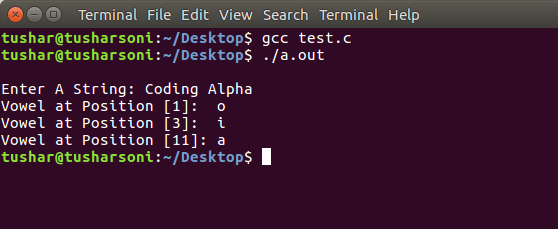 C Program To Print Vowels in String using If Else and ASCII