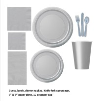Silver/gray tableware plastic and paper plates, napkins ...