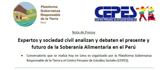 conversatorio Es posible la soberanía alimentaria en el Peru