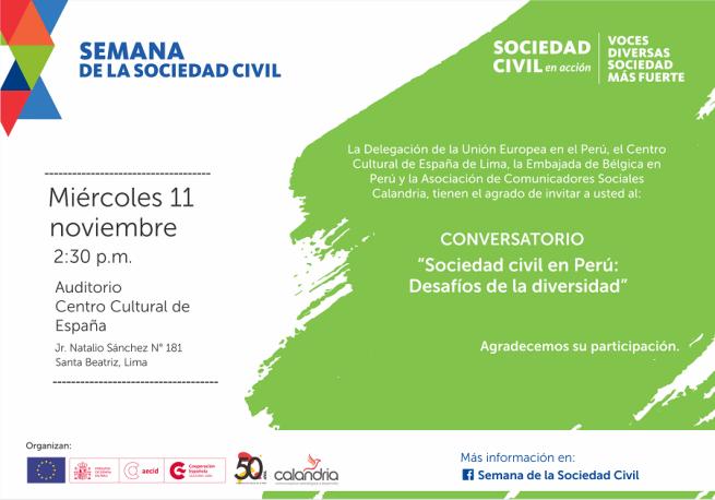 Invitacion Conversatorio Sociedad civil en Peru Desafios de la diversidad