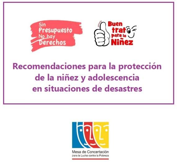 Recomendaciones proteccion niñez adolescencia situaciones desastres