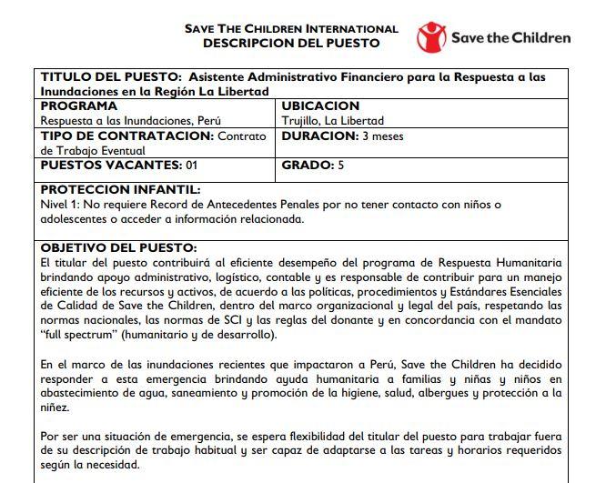 asistente administrativo save the children