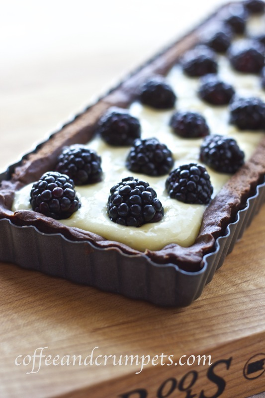 white chocolate blackberry tart