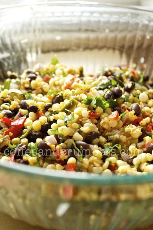 fresh corn, roasted green chillies and black bean salsa served along ...