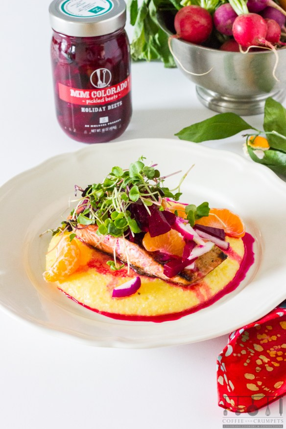Pickled Beet Slaw with salmon