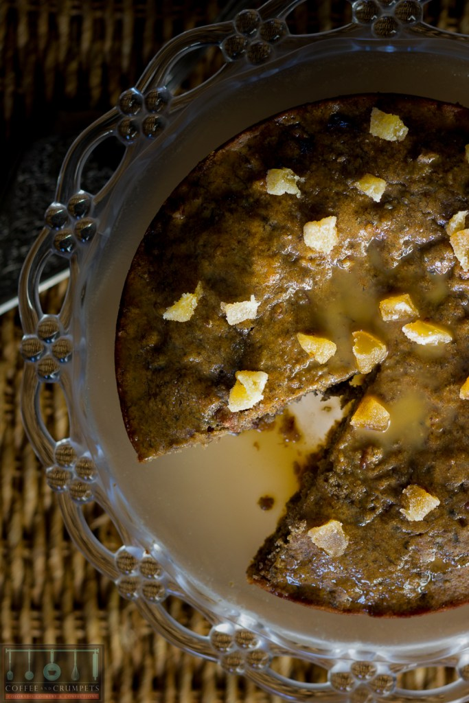 A rich cake made with roasted bananas and studded with pecans.