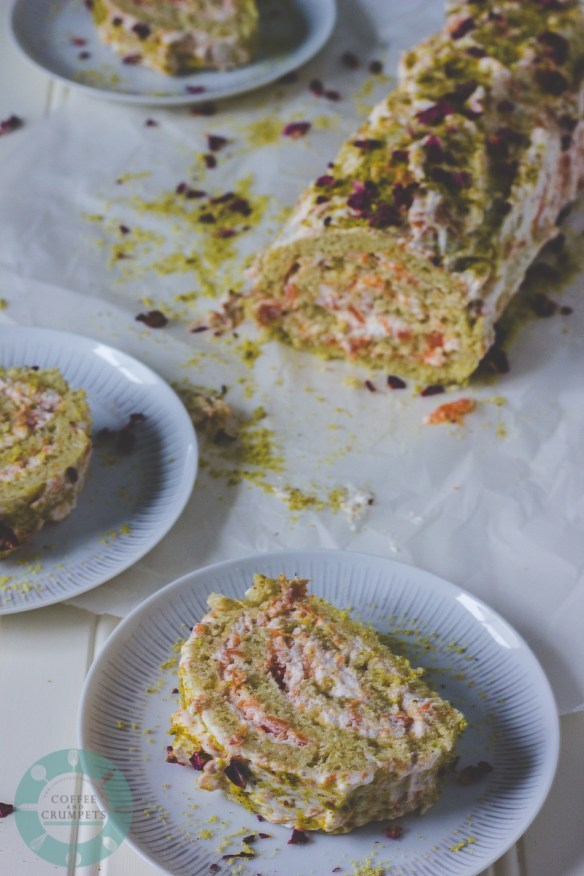 Persimmon Pistachio Roll Cake
