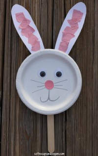 Bunny Paper Plate Puppet Craft | Coffee Cups and Crayons