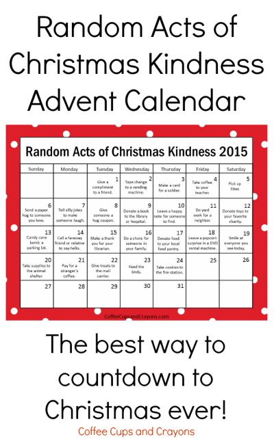 Kindness is the Best Way to Countdown to Christmas | Coffee Cups and Crayons