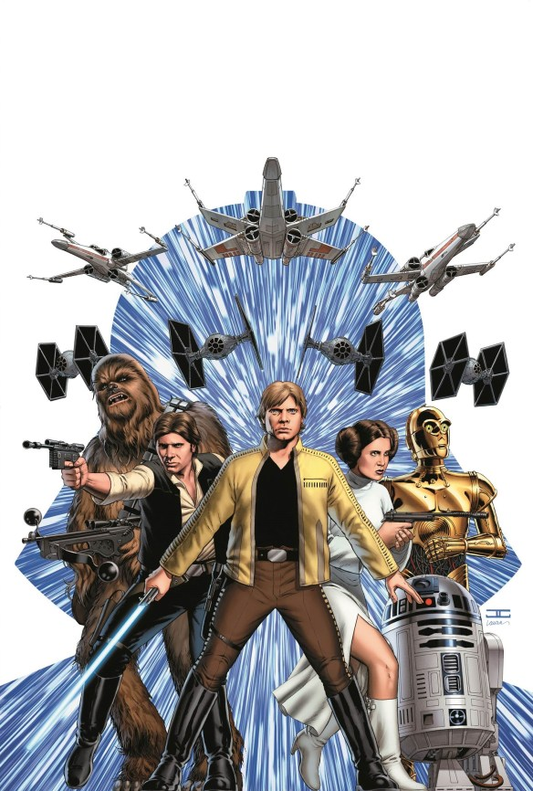 "The cover image to the first issue of Marvel's upcoming ""Star Wars"" comic series, written by Jason Aaron and illustrated by John Cassady.  The series is the first of three planned for 2015, and  marks the franchise's return to the publisher after a 10-year run that ended in 1987."