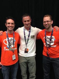 Co-Hosts Dan Z & Cory Clubb with Freddie Prinze Jr. at Celebration Anaheim.