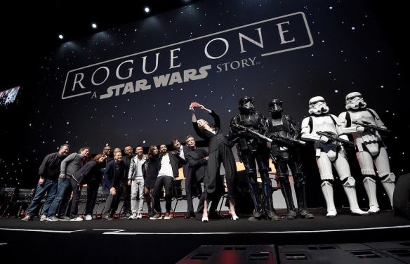 LONDON, ENGLAND - JULY 15: (L-R) Forest Whitaker, Mads Mikkelsen, Alan Tudyk, Wen Jiang, Donnie Yen, Felicity Jones, Riz Ahmed, Diego Luna, Ben Mendelsohn and Gwendoline Christie take a selfie on stage during the Rogue One Panel at the Star Wars Celebration 2016 at ExCel on July 15, 2016 in London, England. (Photo by Ben A. Pruchnie/Getty Images for Walt Disney Studios)