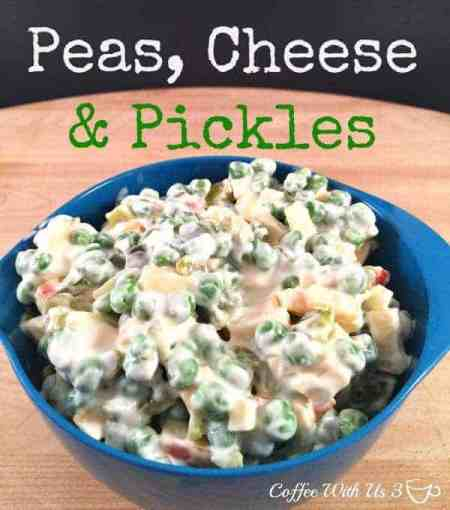 Peas Cheese & Pickles is a great salad with great flavor and texture. - Coffee With Us 3