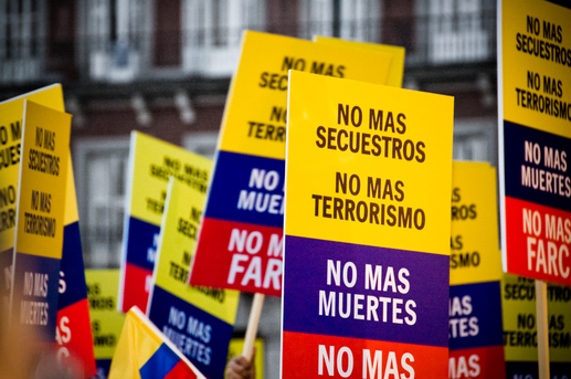 Demonstration against FARC, held in Madrid's main square and more than 130 cities around the globe simultaneously