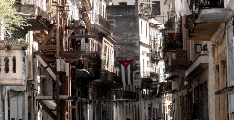 a flag in the urban chaos