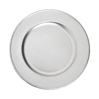 Silver plastic charger plate - coincasa