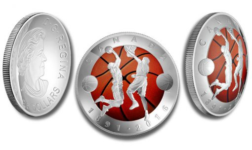 Canadian 2016 $25 125th Anniversary of the Invention of Basketball Silver Coin