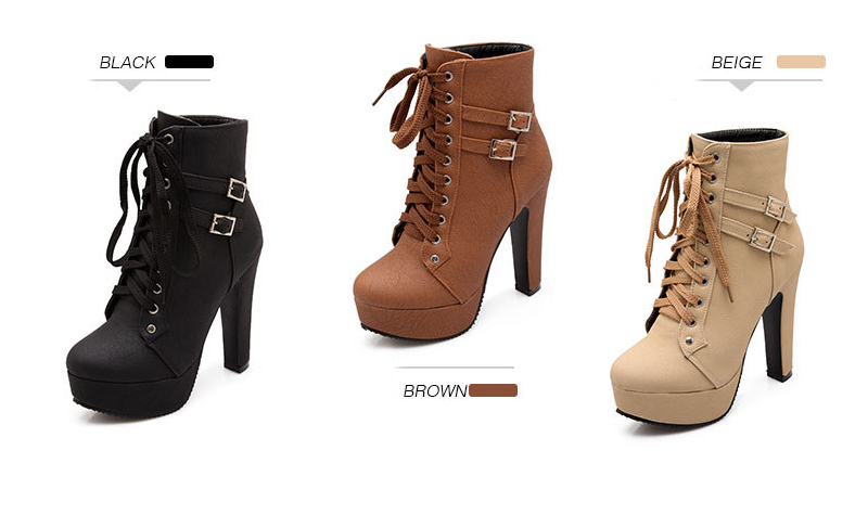Ankle Boots For Women Female High Heels 2018 Lace Up