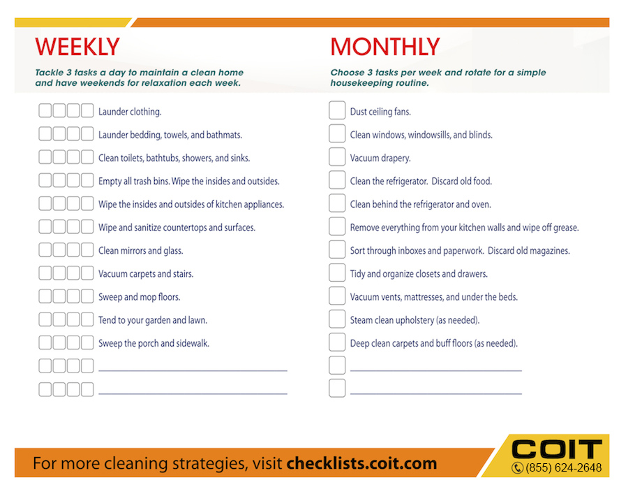 Weekly and Monthly House Cleaning Checklist COIT - housekeeper cleaning checklist