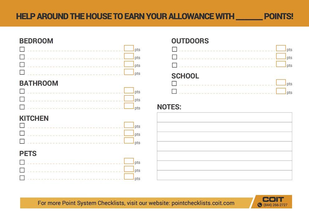 Printable checklist COIT