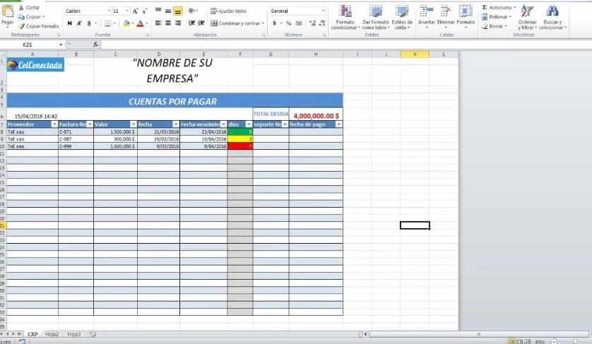 Plantilla Excel Cuentas por cobrar y pagar - formatos de excel gratis