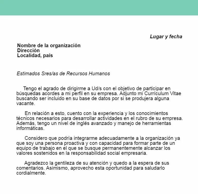 Ejemplo de carta de presentación - ColConectada
