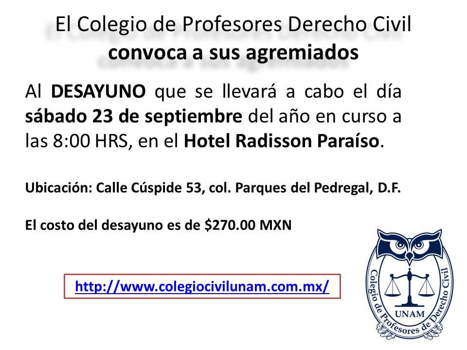 Invitacion desayunos formato 1 Colegio de Profesores de Derecho