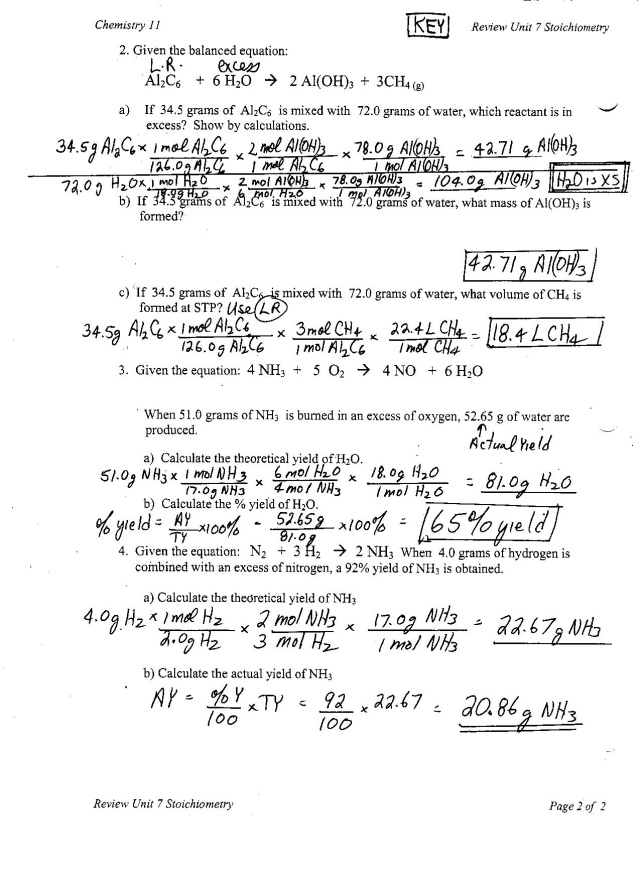 introduction to stoichiometry worksheet answers
