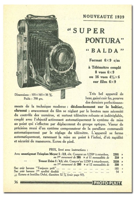 Nouveauté de 1939, le superPONTURA de Balda, pas loin de 2500 FF