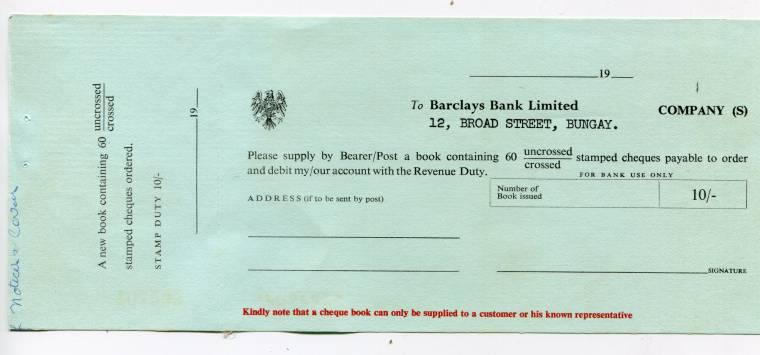 UNITED KINGDOM - Original Circa 1940 UNUSED BARCLAYS BANK LIMITED