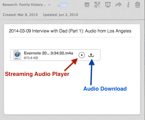 Evernote Audio Interviews - Note View - OSX