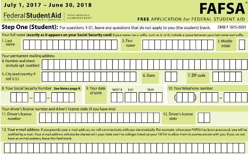 Printable FAFSA Application - printable application