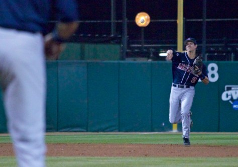 Kevin Newman throws a firey orb ball to first base. (Photo: Shotgun Spratling)