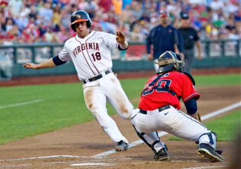 Nate Irving scores the first run of the game. (Photo: Shotgun Spratling)