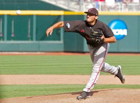 Dominic Moreno throws the final pitch. (Photo: Shotgun Spratling)
