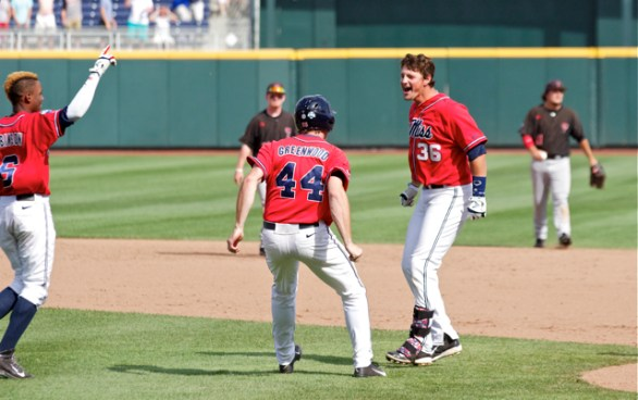 John Gatlin celebrates his game-winning hit. (Photo: Shotgun Spratling)