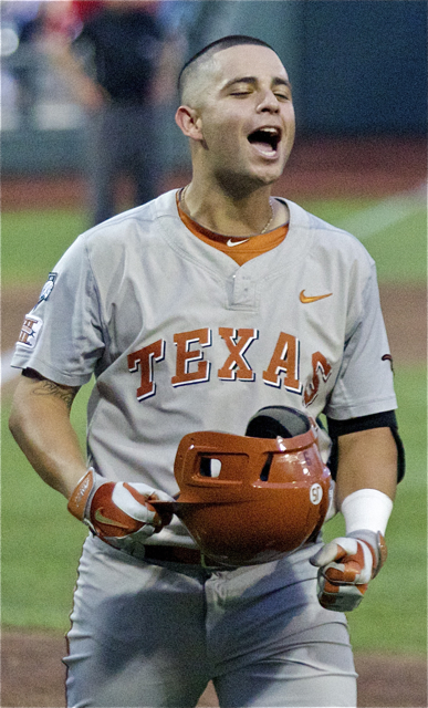 C.J. Hinojosa is pumped up after his HR. (Photo: Shotgun Spratling)