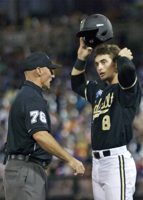 Rhett Wiseman is confused by an umpire's ruling. (Photo: Shotgun Spratling)